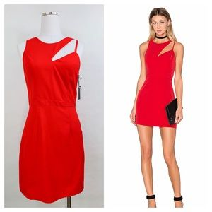 NBD Cut the Line Bodycon Dress Ruby Red